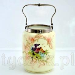 Antyczna herbatnica z malowanego szkła
