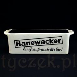 Zabytkowa tabakiera z reklamowymi napisami HANEWACKER