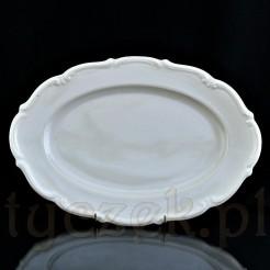 Półmisek porcelanowy w kremowym kolorze z ładnie zdobionym brzegiem