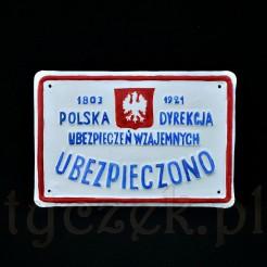 Zabytkowa tablica ubezpieczeniowa po renowacji