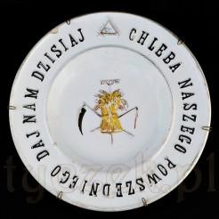 Oko opatrzności oraz modlitwa na starym talerzy Włocławek