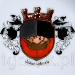 Herb Johannisburg - porcelanowy antyk z początku XX wieku