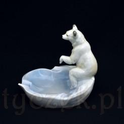 Wiekowa porcelanowa figuralna popielnica