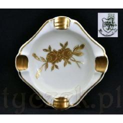 Popielniczka porcelanowa w złote róże stara Bavaria