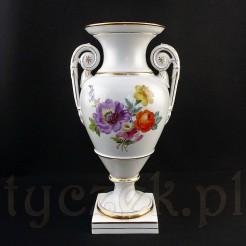 Meissen oryginalny wazon miśnieński z malowanym motywem kwiatowym