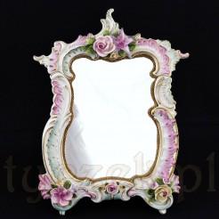 Stylowe lustro w typie rokoko z porcelany