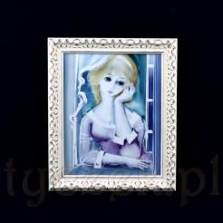 Przepięknie ręcznie wykonany obraz na porcelanie przedstawiający jasnowłosą kobietę o lirycznej twarzy