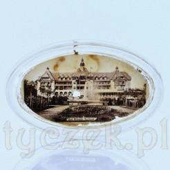 Szklany przycisk z widoczkiem Kurhaus Bad Altheide