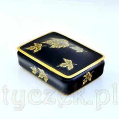 Liście ze złota na kobaltowej porcelanie Rosenthal