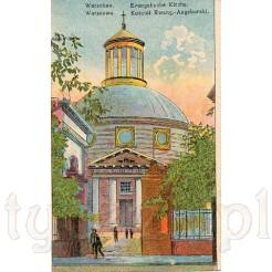 Oryginalna, graficzna kartka pocztowa prezentująca kościół Ewangelicko- Augsburski w Warszawie