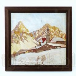 Widok na zimowy pejzaż miejscowości Lermoos.