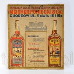 Reklamowy plakat likierów z Chorzowa oryginał datowany na 1935 rok