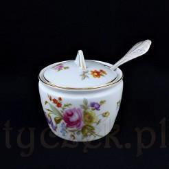 Ekskluzywna porcelanowa cukiernica z wycięciem na łyżeczkę
