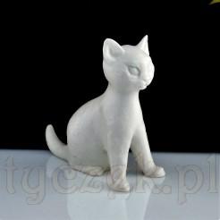 Biała nieszkliwiona figurka kota syjamskiego