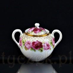 Oryginalna pięknie dekorowana porcelanowa cukiernica z Bawarii