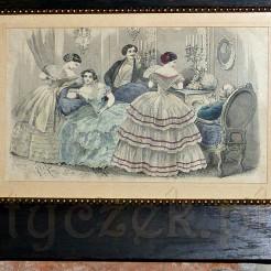 Barwny staloryt z XIX wieku w interesującej oprawie.