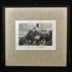 Zabytkowy staloryt wzorowany na obrazie Ludwiga Richtera.