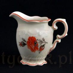 Markowy mlecznik z porcelany ecru z pomarańczowa różą