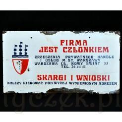 Kultowa Tablica informacyjna Skargi i Wnioski Warszawa