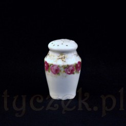 Solniczka z porcelany z różami i secesyjnym złoceniem