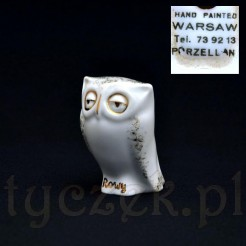 Znakomita, kolekcjonerska figurka sowy z porcelany