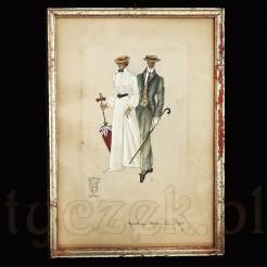 Zabytkowy obrazek malowany ręcznie na jedwabiu - Karl Berghof.