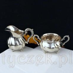 Luksusowy komplet srebrny: mlecznik i cukierniczka otwarta