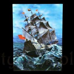 Uzbrojony okręt wojenny z Anglii zdobiony narodowymi banderami, flagą królewską oraz proporcami