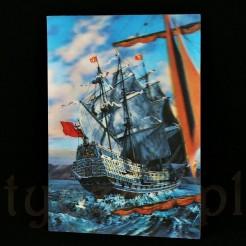 Kartka trójwymiarowa ukazująca bogato zdobiony statek żaglowy