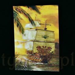 Okazały statek hiszpański handlowo- wojenny służący do przewożenia skarbów na kartce 3D