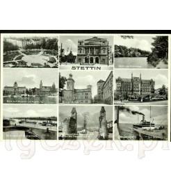 Miejsca charakterystyczne dla Szczecina (niem. Stettin) na dawnej pocztówce