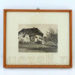 Grafika z widokiem na wiejski górski dom.