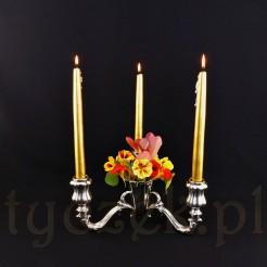 Niebywała ozdoba stołu- trójramienny świecznik z wazonikiem