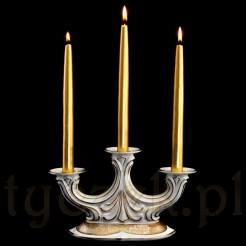 Śląski świecznik z porcelany ecru ze złotem marki Koenigszelt