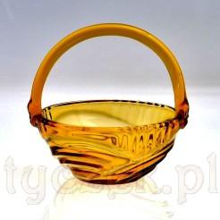 Art Deco antyczny koszyczek ze szkła miodowego