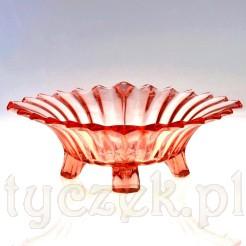 Dekoracyjna patera ze szkła w kolorze różu