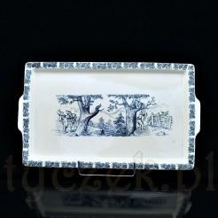 Taca z ceramiki w kolorze kremowym z uchwytami dekorowana kobaltową scenką z krasnalami