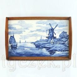 Stylowa taca z malowanym pejzażem holenderskim