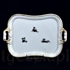 Dekoracyjna tacka zabytkowa z porcelany zdobionej motywem krasnali