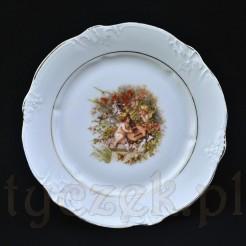 Subtelny porcelanowy talerzyk z CT z barokową dekoracją