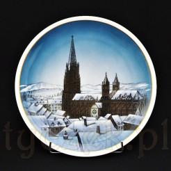Znakomity eksponat z ręcznie malowanym widokiem katedry Munster Freiburg
