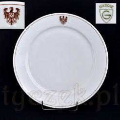 Śląska porcelana - talerz sygnowany Giesche z orłem i herbem
