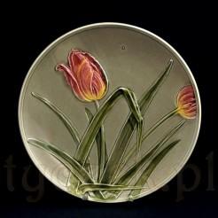 secesyjne tulipany na starym talerzu dekoracyjnym