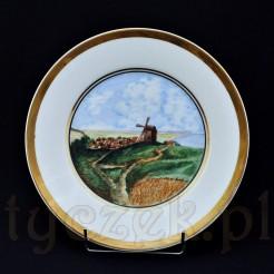 Malowany pejzaż z wiatrakiem na porcelanowym talerzu Bavaria