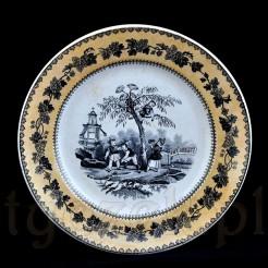 Fajansowy XIX-wieczny talerz z orientalną dekoracją
