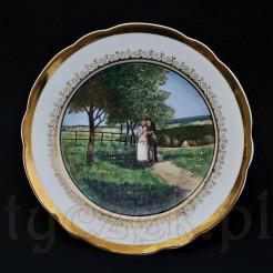 Spacer na wsi - malowany obraz na porcelanowym talerzu