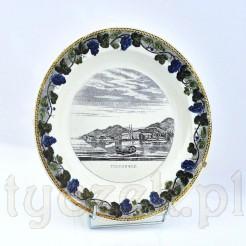 Zabytkowy talerz z widokiem - souvenir z Tegernsee - fajans ze Schrambergu