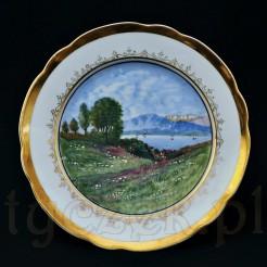 Dekoracyjny talerz zabytkowy z malowanej ręcznie porcelany