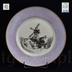 zabytkowy wiatrak namalowany na markowej porcelanie