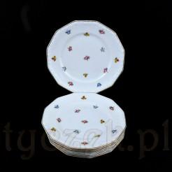Zestaw składa się z sześciu dwunastokątnych talerzyków deserowych